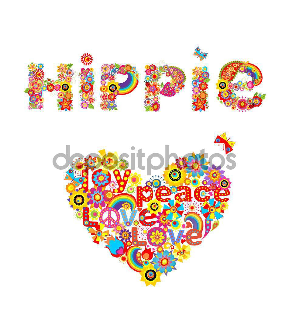 Hippies clipart heart flower Lettering heart print print and