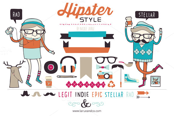 Hipster clipart  Mustaches Hipster clipart &