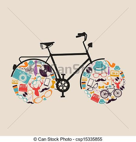 Hipster clipart bicycle Bike of hipsters fashion bike