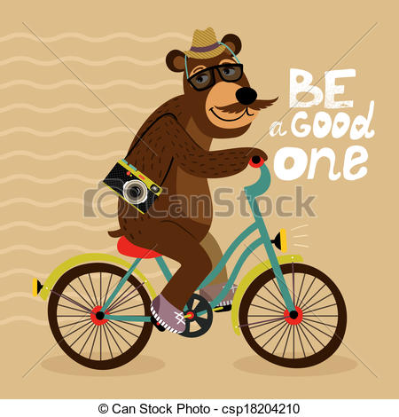 Hipster clipart bicycle Riding bear bicycle Clip of
