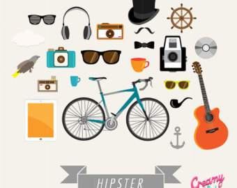 Hipster clipart bicycle / Clip Instant Bicycle Guitar