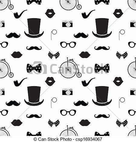 Hipster clipart black and white Seamless Art csp16934067 White Pattern