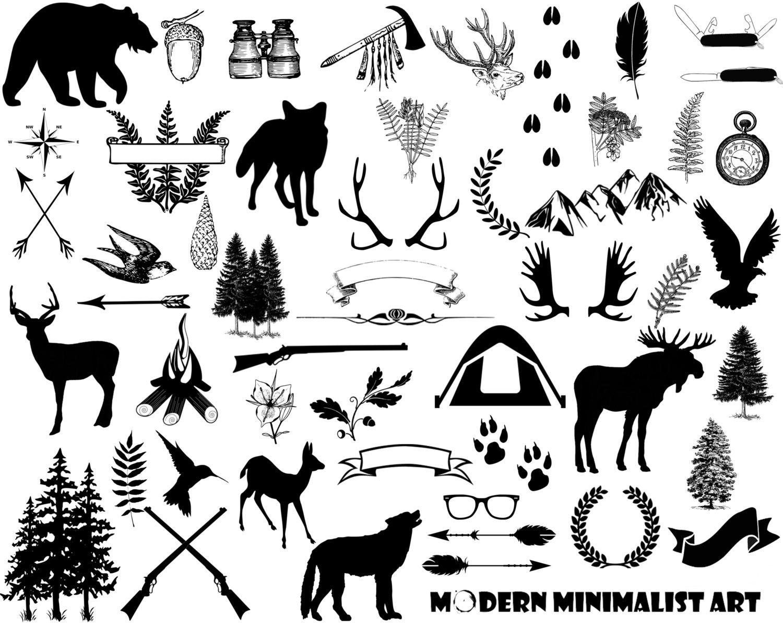 Wilderness clipart vintage camping Art Forest deer Forest Clip