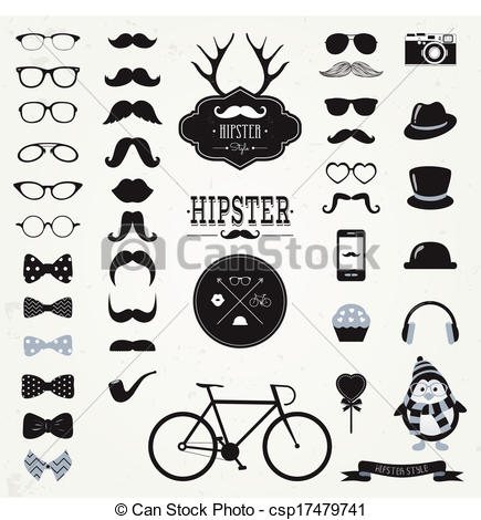 Hipster clipart black and white Icon of EPS Vintage Set
