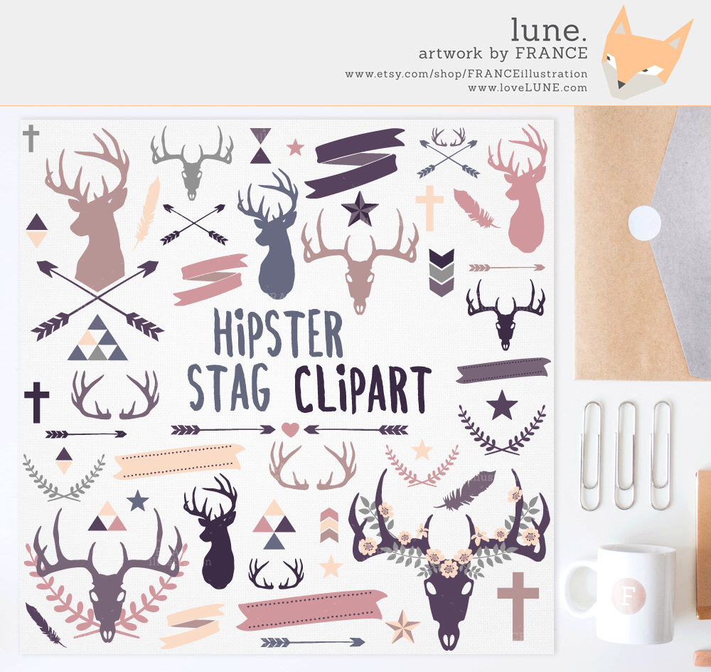 Drawn stag hipster Handddrawn  Feathers Deer +
