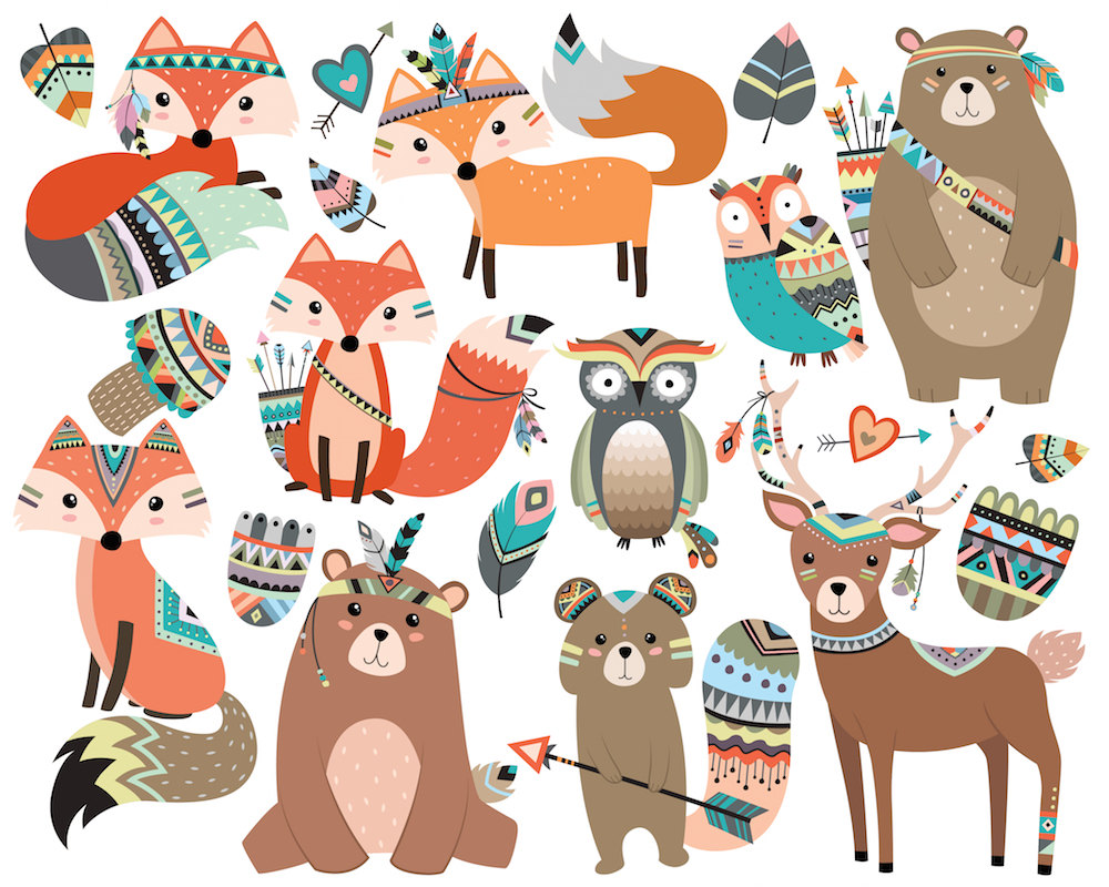 Indian clipart woodland Animals Deer Tribal KennaSatoDesigns Vol