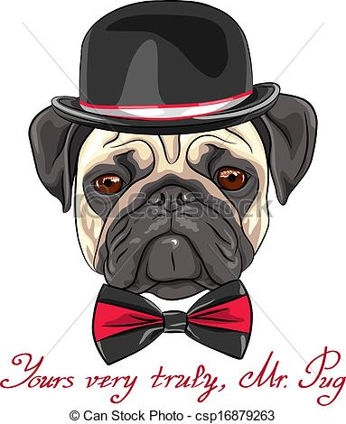 Drawn pug hipster Vector sketch  Clip hipster
