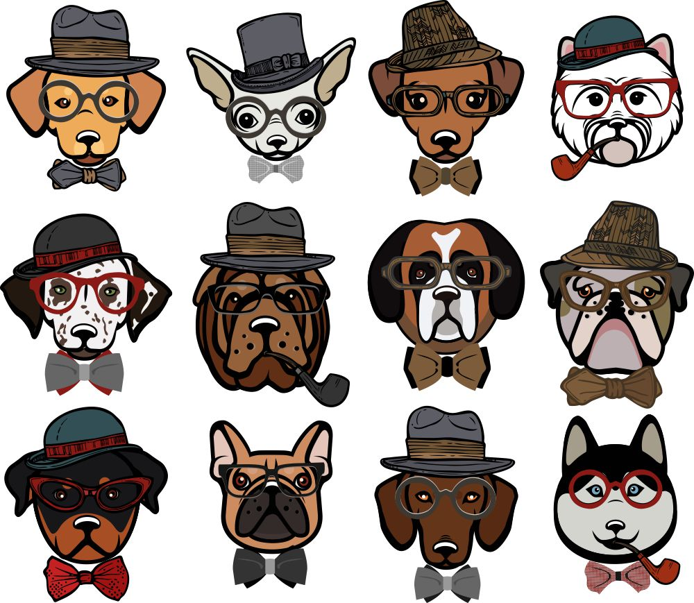 Hipster clipart dog #8