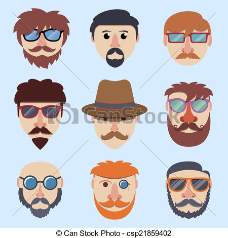 Hipster clipart face #1