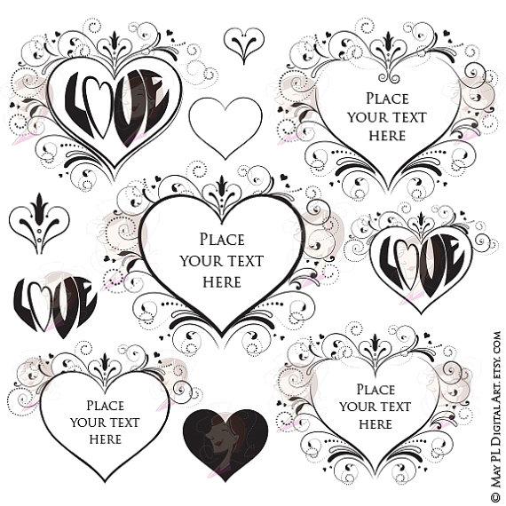 Hipster clipart frame Engagement Heart Swirls Love VECTOR