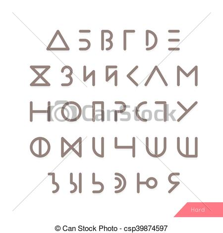 Light EPS typeface alphabet Linear