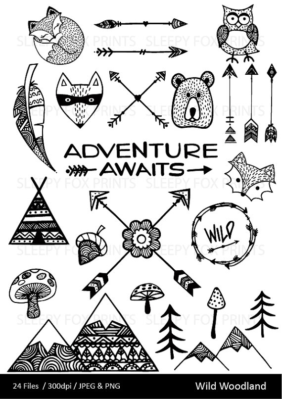 Hipster clipart mountain Mountain Forest Hipster Woodland Adventure