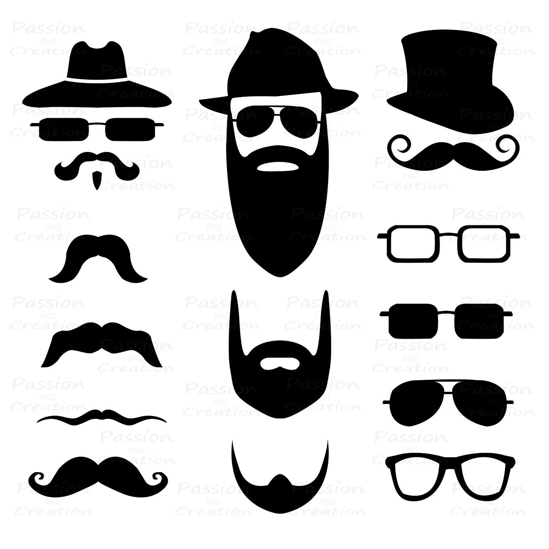 Blonde clipart mustache Silhouette glasses clipart Digital item?