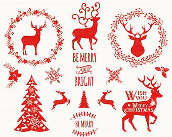 Holydays clipart deer Vector Christmas Rustic Christmas CHRISTMAS
