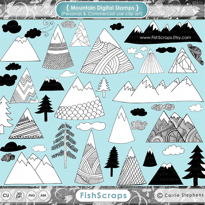 Outdoor clipart mountain sketch Hand Clip Outdoor  Digital