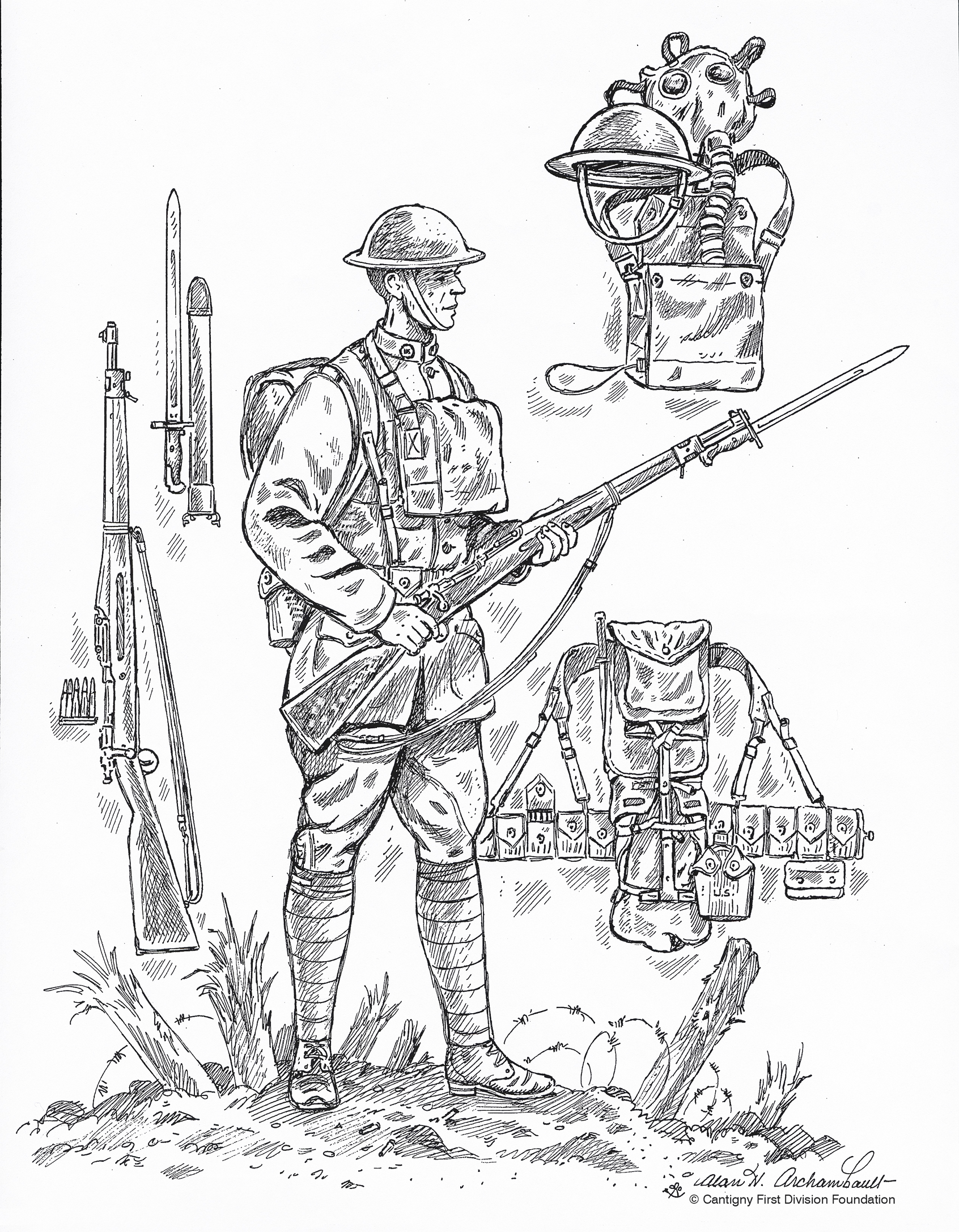 Soldiers clipart world war 1 soldier History Coloring pages 1918 from