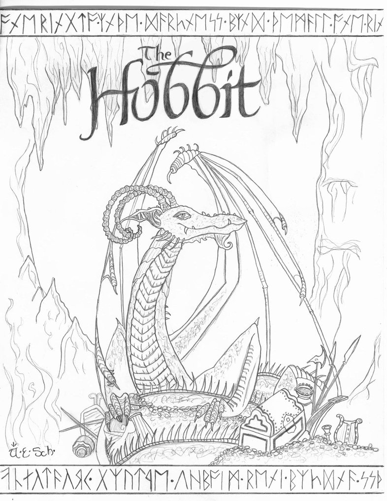 Hobbit clipart coloring page  on by deviantART page