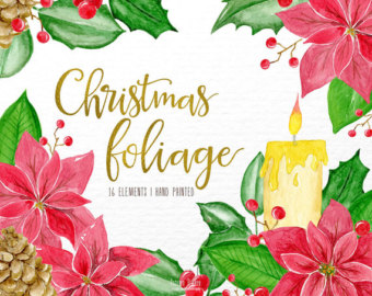 Poinsettia clipart christmas greeting Christmas watercolor christmas christmas holly