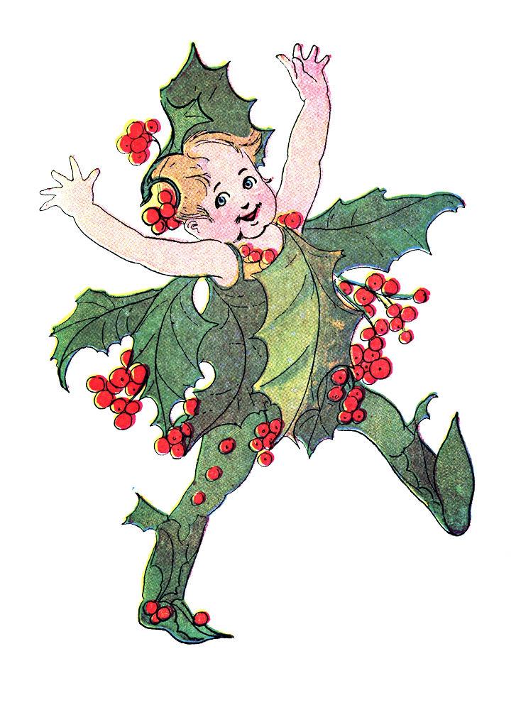 Vintage Christmas Fairies Clip