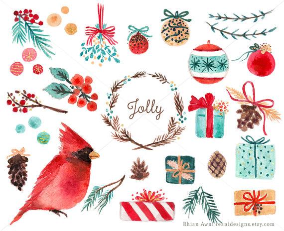 Christmas clipart watercolor Clip Wreath Balls Art Berry
