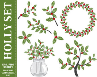 Holley clipart christmas greens Berry Holly Holly Berries Etsy