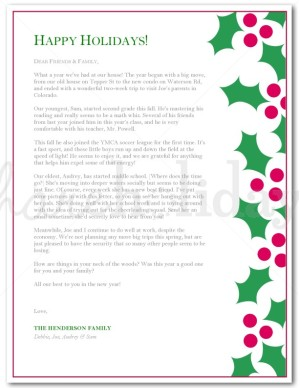 Holley clipart christmas letter Christmas Christmas Template Letter Holly