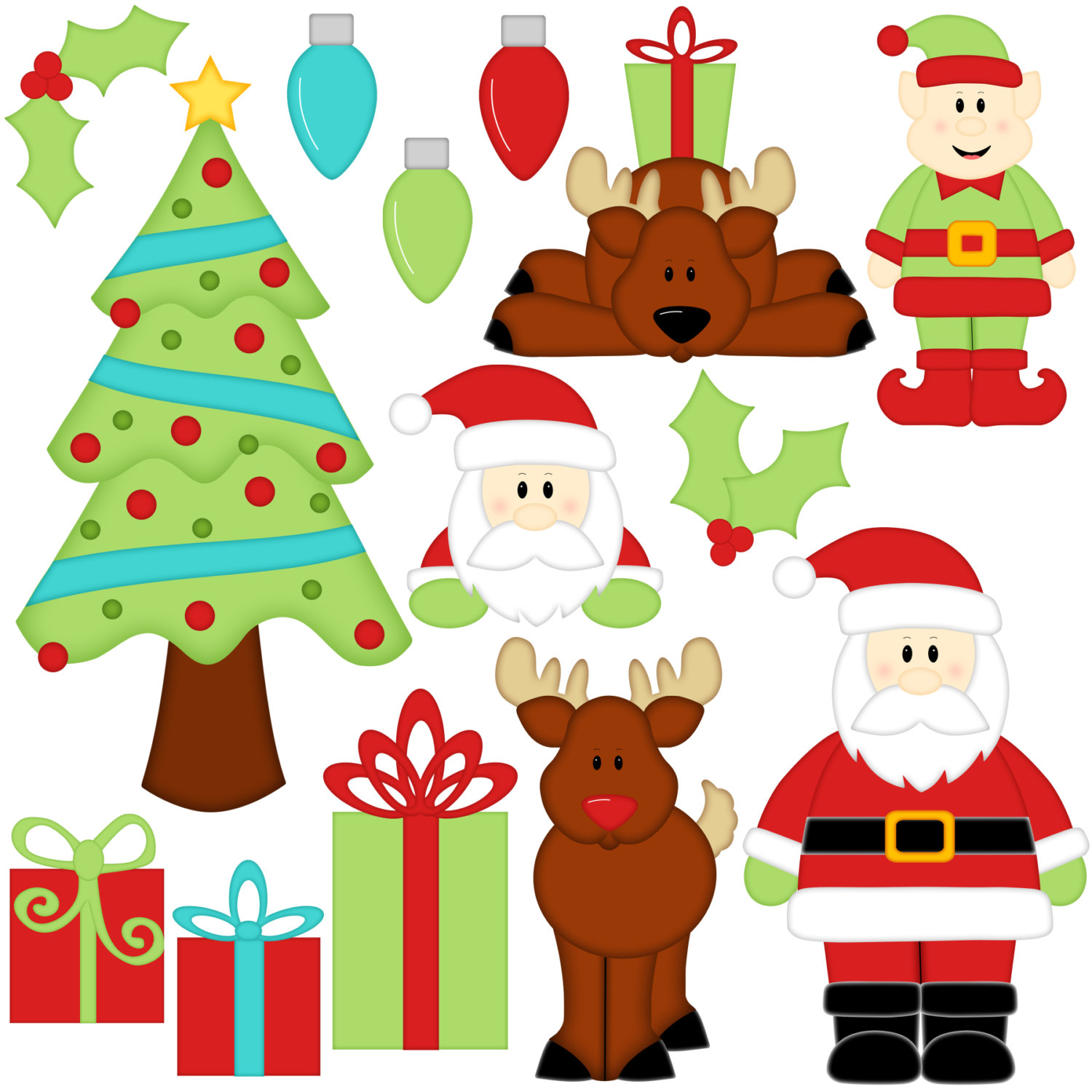 Holley clipart christmas tree light Digital Santa Elf Santa 14