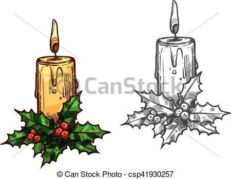 Holley clipart christmas tree light Sketch  leaves Christmas candle