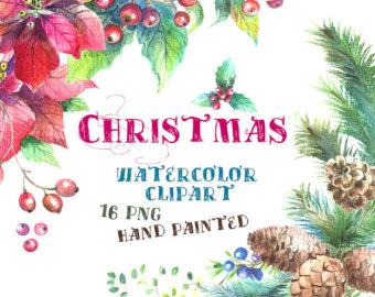 Poinsettia clipart christmas greeting Pine Poinsettia Year Christmas New