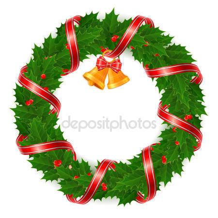 Holley clipart christmas wreath — Christmas holly Vector –