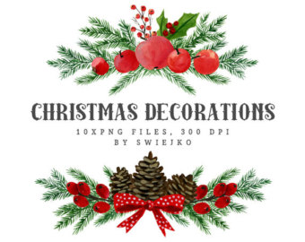 Wreath clipart holiday decoration Clipart Etsy decoration Watercolor Divider