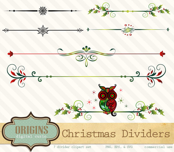 Holley clipart divider Owl) Vector christmas (with Dividers
