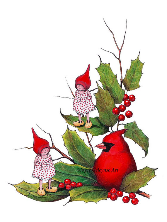 Holley clipart holiday Use jpg Christmas Gnomes Cardinal