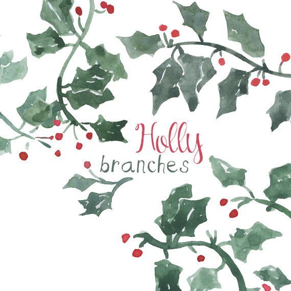 Holley clipart holiday Clipart Etsy Holly for Holiday