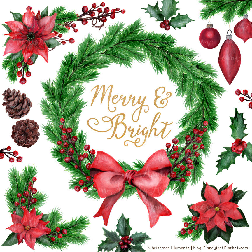 Poinsettia clipart christmas greens Collection Merry Clipart Etsy Holly