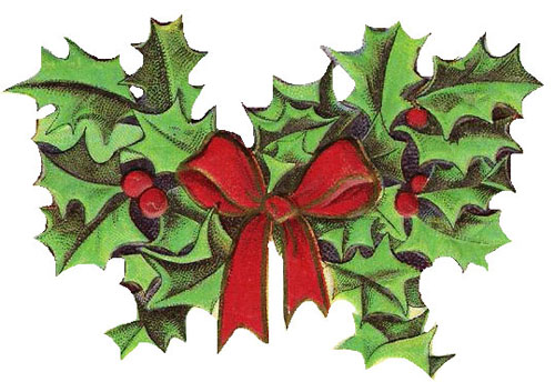 Holley clipart old fashioned Christmas vintage art clipart fashioned