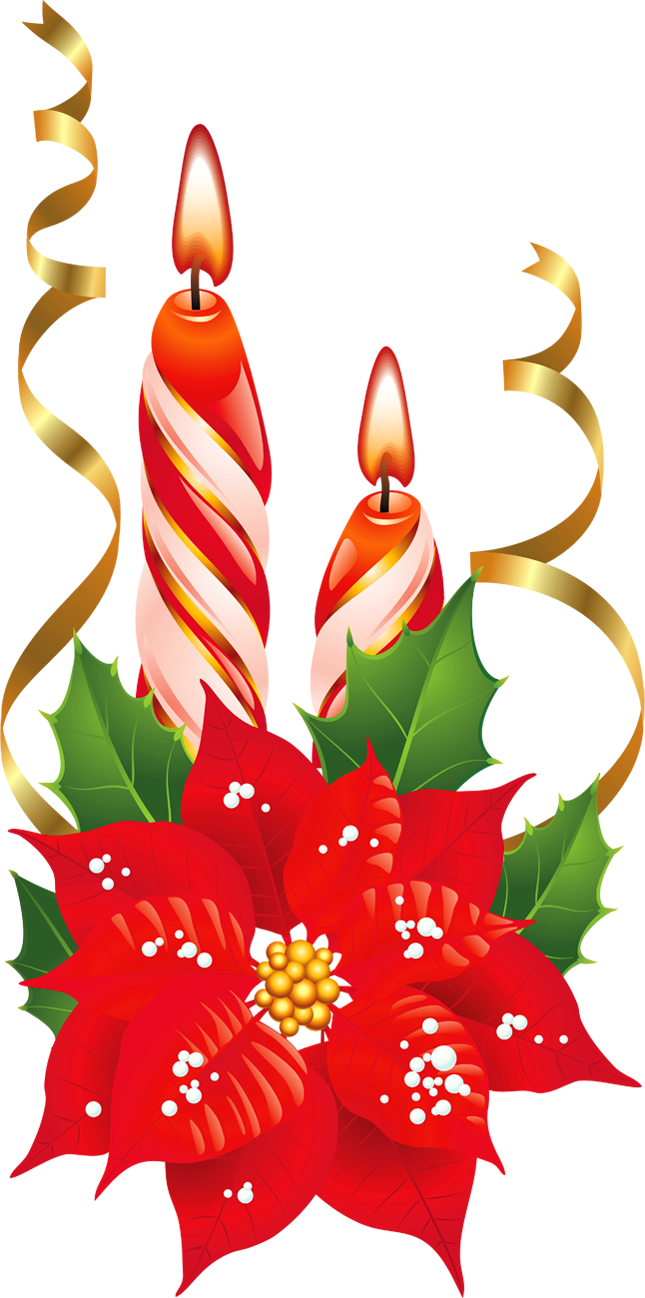 Poinsettia clipart christmas candle Christmas art free Christmas Candle