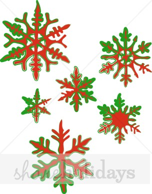 Holley clipart red green snowflake Clipart Green and Fancy and
