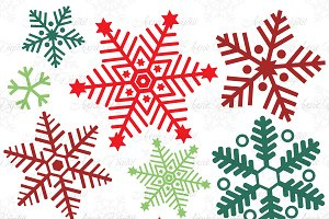 Holley clipart red green snowflake ~ Snowflakes Creative on Illustrations