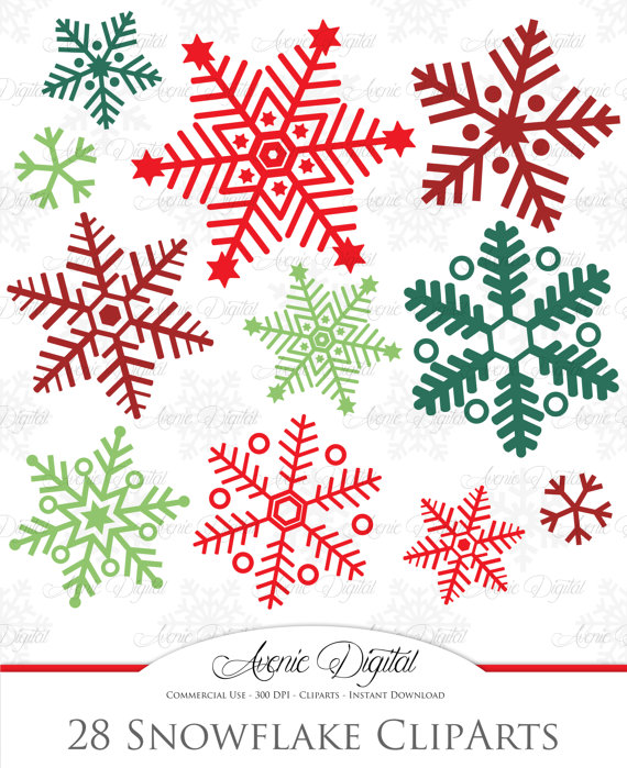 Holley clipart red green snowflake Snowflakes red Scrapbook Clipart Scrapbook