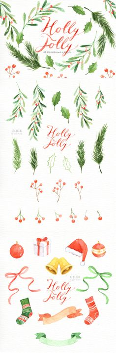 Holley clipart row Christmas Holly  Watercolor painted