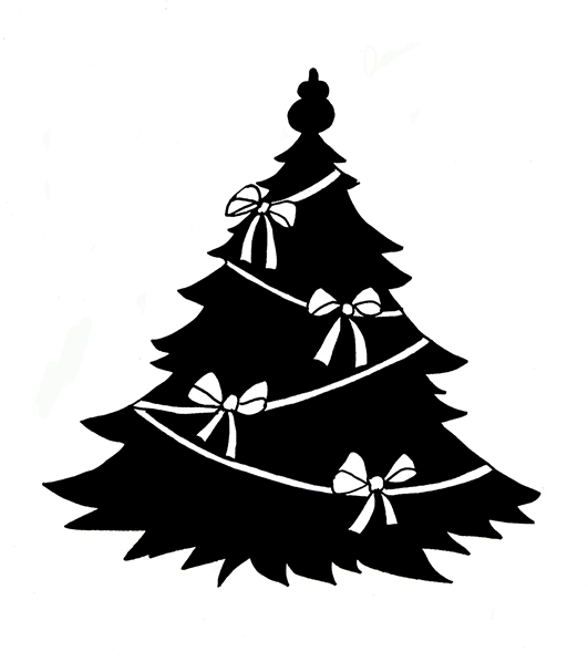 Holley clipart silhouette Ribbons white Silhouettes silhouette Christmas