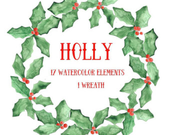 Holley clipart winter Digital 9 USD clip for