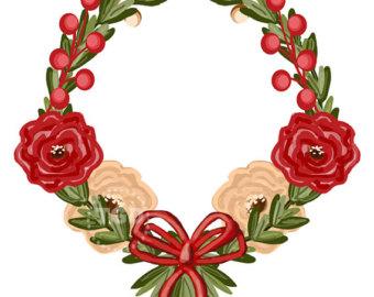 Wreath clipart santa Wreath Cream clip Red Invitation