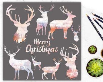 Holydays clipart deer Clipart Digital Christmas Banner Stag