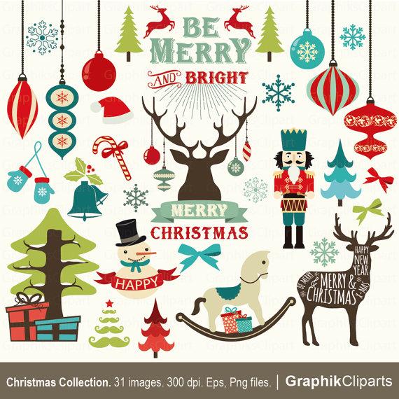 Holydays clipart deer Art Holidays Eps Clip Vector