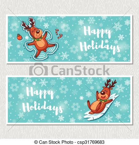 Holydays clipart deer Banners with horizontal Happy deer
