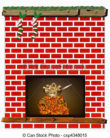 Holydays clipart fireplace Fireplace popcorn of in and