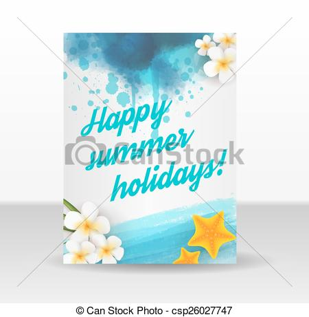 Holydays clipart flyer Template flyer Flyer Vector Summer