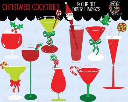Holydays clipart martini Clip art cocktail Christmas scrapbooking